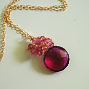 Gorgeous Pomegranate Pink quartz and Mystic Rubelite necklace