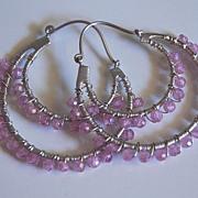Double hoop earrings with pink quartz
