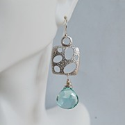 Gorgeous Sage Green Quartz and square connector Dangle Earrings