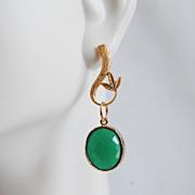 Glass Green Opal Framed gold plated Dangle Earrings