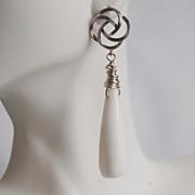 SOLD Milky White long drop Smooth Briolette Earrings- Wedding jewelry