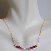 Genuine Shaded Ruby Necklace with Gold filled chain