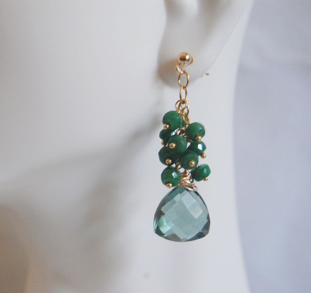 Gorgeous Sage Green Quartz and Genuine Emerald Dangle Earrings