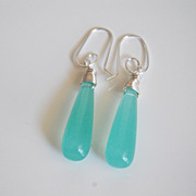Aqua color smooth long drop briolette earrings