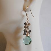 Gemstone Earrings- Gorgeous Sage Green Quartz and blue flashy Labradorite- dangle Earrings