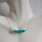 Brazilian Amazonite Necklace - Gemstone Amazonite necklace, Beaded Necklace,Sterling silver Chain