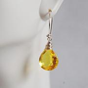 Gemstone Yellow Quartz Dangle Drop Earrings