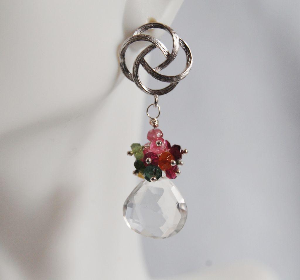 Gemstone cluster dangle Earrings - Multi Tourmaline cluster Dangle Earrings earrings
