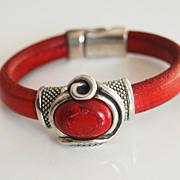 Red Licorice Leather Bracelet-Bangle bracelet- Red stone charm Bracelet - Cuff Bracelets -