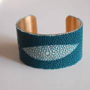 Stingray Bracelet -Teal Green Genuine Stingray Leather Cuff Bracelet - Cuff Bracelet- Leather Bracelet