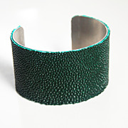 Stingray Bracelet - Dark Forest Green Genuine Stingray Leather Cuff Bracelet - Cuff Bracelet- Leather Bracelet