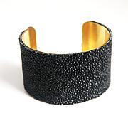 Stingray Bracelet -Jet Black Genuine Stingray Leather Cuff Bracelet - Cuff Bracelet- Leather B