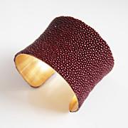 "Stingray Bracelet -Maroon Genuine Stingray Leather Cuff Bracelet -2"" Concave Cuff Bracelet- Leather Bracelet"