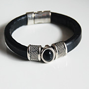 Black Licorice Leather Bracelet- Bangle bracelet-Hematite stone charm Bracelet - Cuff Bracelet