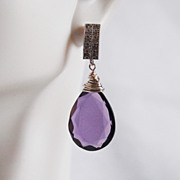 SOLD Gorgeous AAA Purple Quartz Briolette Dangle Drop Earrings- Wedding Jewelry- Bridal Jewelr