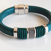 Teal Green Licorice Leather And Green O ring Bracelet- Bangle bracelet- - Cuff Bracelets