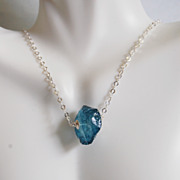 Teal Blue Quartz Hammered Nugget pendant Necklace in Sterling Silver