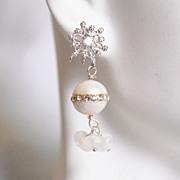 Wedding Earrings- Wedding Jewelry- Bridal Jewelry-Fresh Water Pearl And Moonstone Earrings-Jun