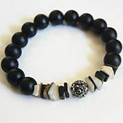 Matte Black Onyx And Black Lip Shell Bracelet - Beaded Bracelet - Stretch Bracelet - Black ...