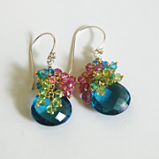 London Blue Quartz And peridot, Pink - Blue Quartz Cluster Dangle Drop Earrings- - Wedding Jew
