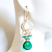 Cluster - Chandelier Earrings -Chrome Green Quartz And Shaded green Quartz Chandelier Dangle D