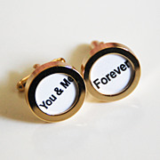 Men's Cuff links - Men's jewelry-- 'You & me ' Cufflinks-Photo Cuff Links- Cuff links ...