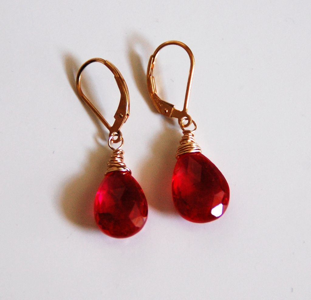 Ruby Red Quartz Dangle Drop Earrings Wedding Jewelry