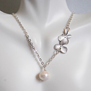Fresh Water Cultured Pearl And Orchid Flower necklace- Wedding Jewelry- Bridal Jewelry