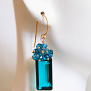 Gorgeous Paraiba Teal Blue Quartz And London Blue Quartz Cluster Dangle Drop Earrings -Blue Ea