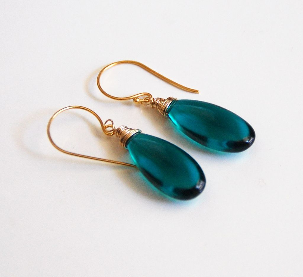 Paraiba teal green quartz smooth elongated briolette dangle drop from