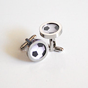 Soccer Ball Cufflinks- Men's Cuff links - Men's jewelry-- Photo Cuff Links- Sports Cufflinks -