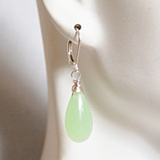 Apple Green Chalcedony Dangle Drop Earrings- Wedding Jewelry- Bridal Jewelry