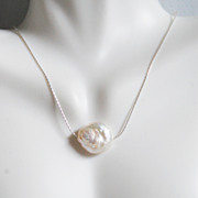 Cultured Fresh Water Coin Pearl Pendant Necklace on Sterling silver -Wedding Jewelry- Bridal A