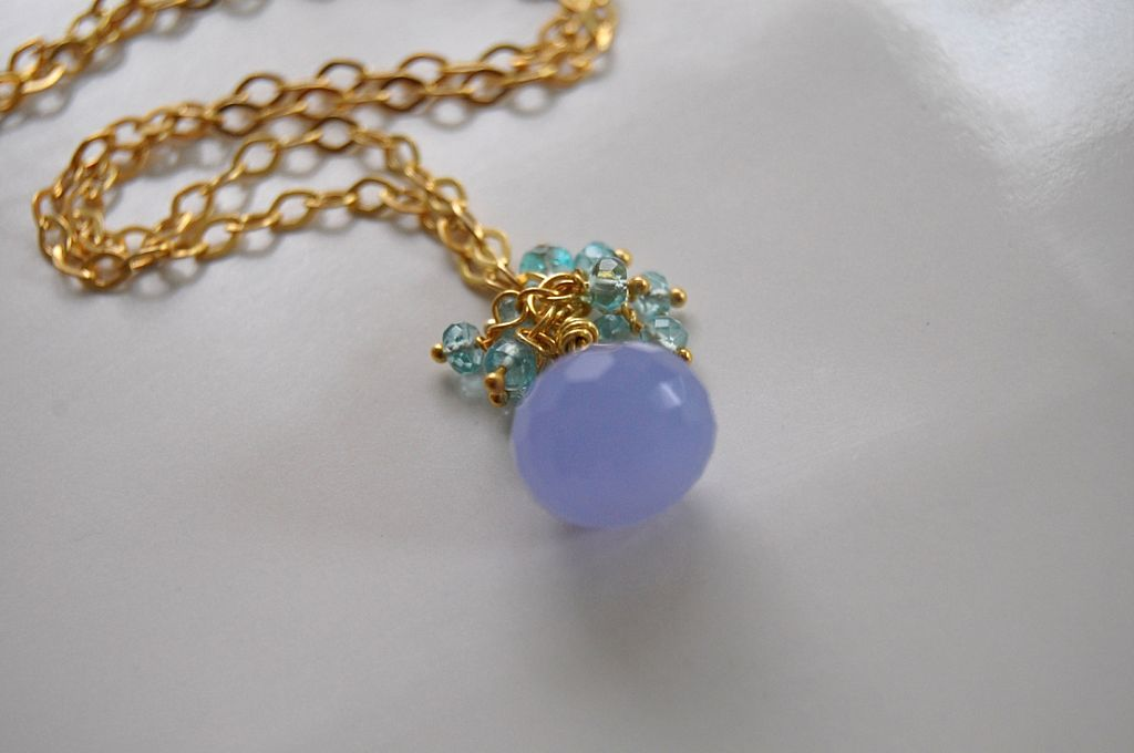 Lavender chalcedony cluster necklace