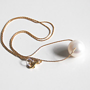 Cultured Fresh Water White Pearl Pendant Necklace on Gold Filled Beading Chain -Wedding Jewelr