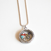 Memory Glass Locket-Floating Charm Locket- Mother's Day Locket- Mother's Day Necklace- Floating Charm Necklace- Floating Locket