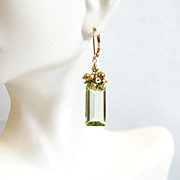 Mother's Day Jewelry -Green Amethyst Quartz And Mystic Green Pyrite Cluster Dangle Drop Earrin