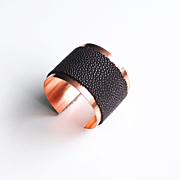 Stingray Cuff Bracelet -Genuine Brown Stingray Leather Cuff Bracelet - Cuff Bracelet- Leather