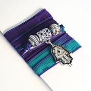 Hand Dyed Silk Ribbon Wrap Bracelet/ Necklace/Anklet- Wrap Bracelet -Purple , Teal Blue Bracel
