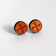 Wood Post Earrings- Men's Post Earrings- Men's Stud Earrings- Men's Jewelry-men's Cherry Wood