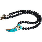 Black Onyx and Tibetan Brass and Turquoise Mosaic Horn Pendant Necklace-- Men's Jewelry- Men .