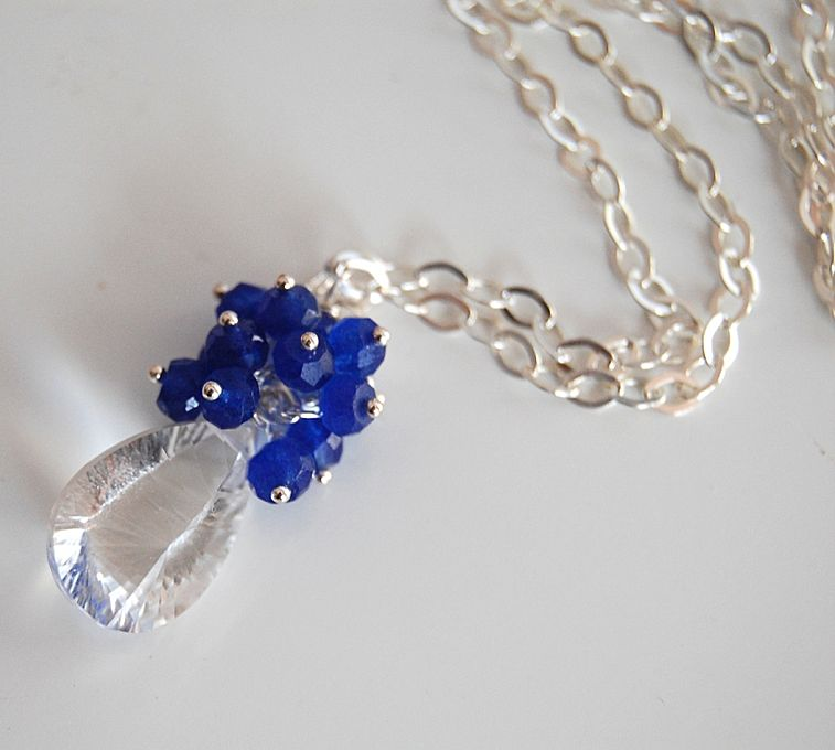 Rock crystal concave cut necklace with ink blue jade