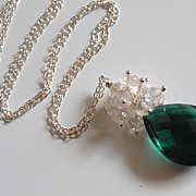 AAA Chrome green quartz and rock crystal necklace