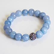 Natural Aquamarine Bracelet- Beaded Bracelet- Stretch Bracelet- Women's Bracelet- Mother's Day