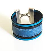 Denim Engraved Leather Cuff Bracelet- Unisex Bracelet- Cuff Bracelet- Multi Strand Bracelet- h