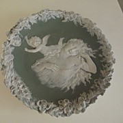 Jasperware Cherub and Lady Plaque