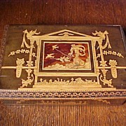 Charming Wood Box With Angels and Birds