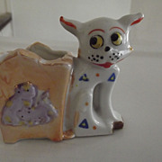 Art Deco Googly Eyed Cat Toothpick Holder