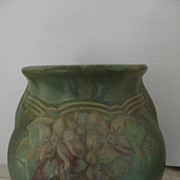 Beautiful Old Green Pottery Vase With Flowers