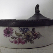 Early Porcelain and Pewter Inkwell